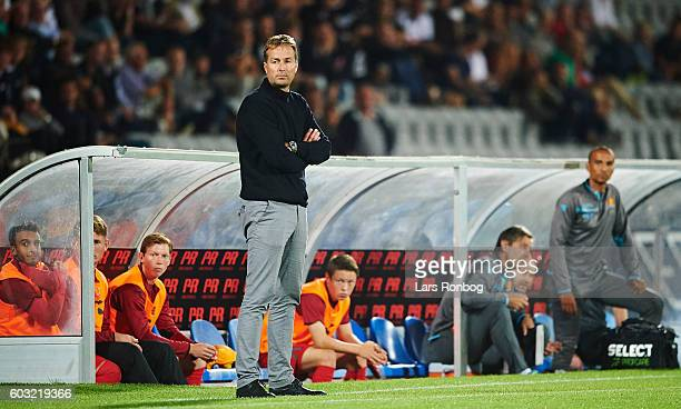 Kasper Hjulmand head coach of FC Nordsjalland looks on during the Danish Alka Superliga match between AGF Aarhus and FC Nordsjalland at Ceres Park on...