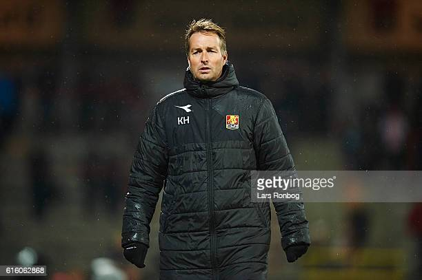 Kasper Hjulmand head coach of FC Nordsjalland looks on during the Danish Alka Superliga match between AaB Aalborg and FC Nordsjalland at Nordjyske...
