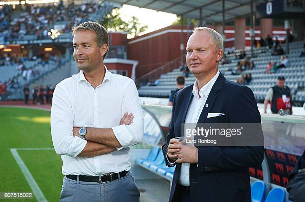 Kasper Hjulmand head coach of FC Nordsjalland speaks to Glen Riddersholm head coach of AGF Aarhus prior to the Danish Alka Superliga match between...