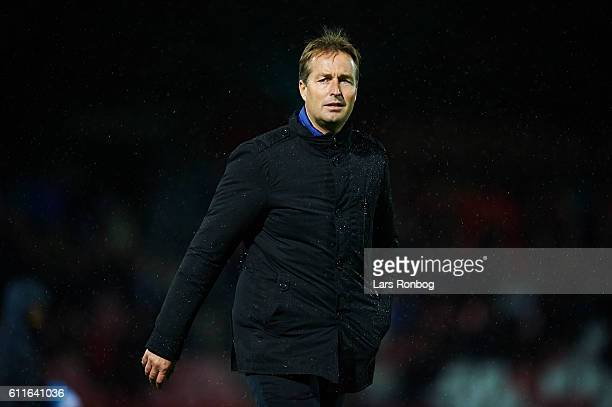 Kasper Hjulmand head coach of FC Nordsjalland walks on tot the pitch prior to the Danish Alka Superliga match between Silkeborg IF and FC...