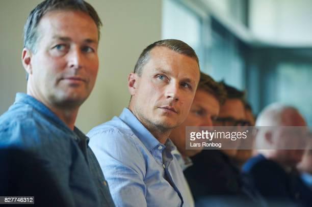 Kasper Hjulmand head coach of Randers FC and Michael Gravgaard director of Randers FC during the Danish Alka Superliga media event at Brondby Stadion...