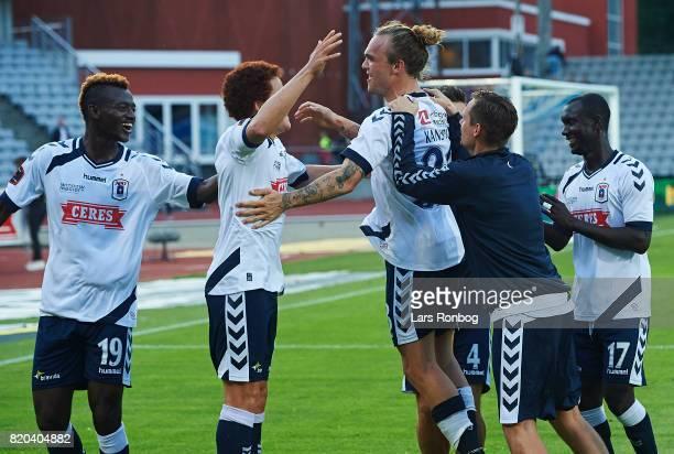 Kasper Junker Mustafa Amini and Pierre Kanstrup of AGF Aarhus celebrate after the Danish Alka Superliga match between AGF Aarhus and Hobro IK at...