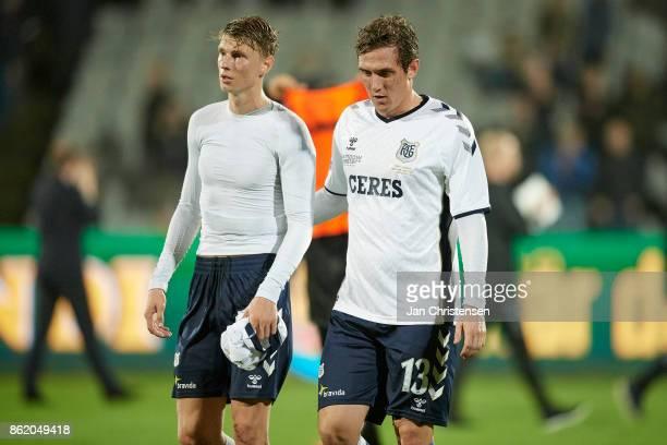 Kasper Junker of AGF Arhus and Morten Duncan Rasmussen of AGF Arhus looks dejected after the Danish Alka Superliga match between AGF Arhus and Lyngby...