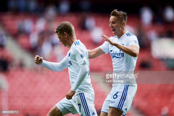 Kasper Kusk and Jan Gregus of FC Copenhagen celebrate after scoring their first goal during the Danish Alka Superliga match between FC Copenhagen and...
