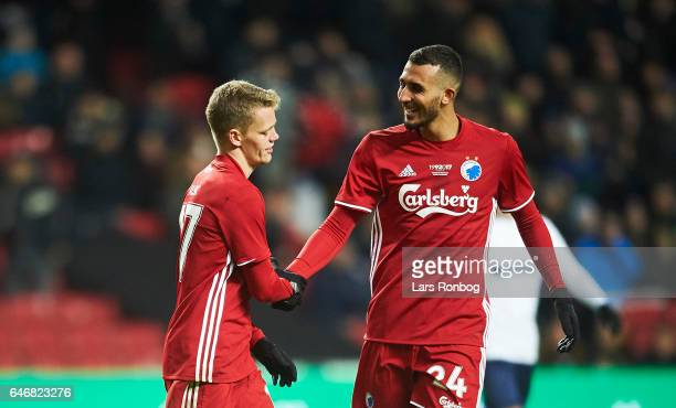 Kasper Kusk and Youssef Toutouh of FC Copenhagen celebrate after scoring their third goal during the Danish Cup DBU Pokalen match match between B93...
