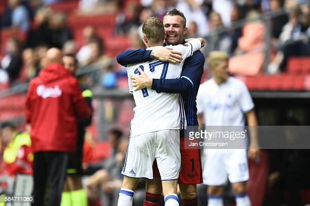 Kasper Kusk of FC Copenhagen and Goalkeeper Stephan Andersen of FC Copenhagen celebrate the 30 goal from Kasper Kusk during the Danish Alka Superliga...
