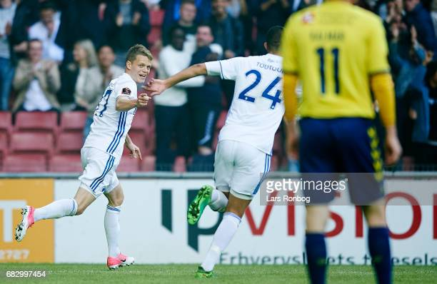 Kasper Kusk of FC Copenhagen celebrates after scoring their first goal during the Danish Alka Superliga match between FC Copenhagen and Brondby IF at...