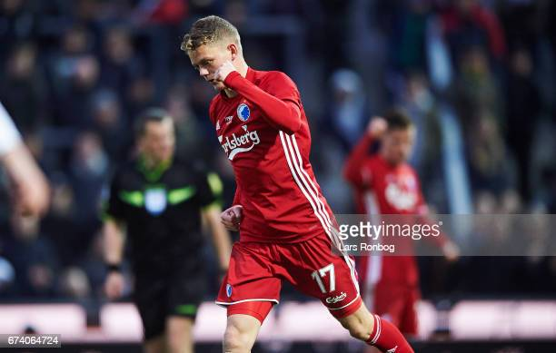 Kasper Kusk of FC Copenhagen celebrates after scoring their second goal during the Danish cup DBU Pokalen semfinal match between Vendsyssel FF and FC...
