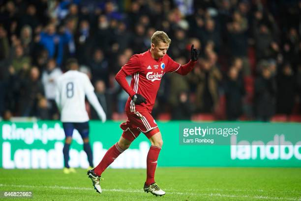 Kasper Kusk of FC Copenhagen celebrates after scoring their third goal during the Danish Cup DBU Pokalen match match between B93 and FC Copenhagen at...