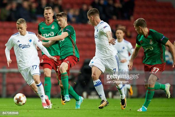 Kasper Kusk of FC Copenhagen compete for the ball during the UEFA Europa League Group Stage match between FC Copenhagen and Lokomotiv Moskva at Telia...