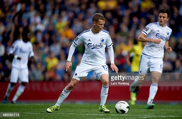 Kasper Kusk of FC Copenhagen controls the ball during the Danish Alka Superliga match between Brondby IF and FC Copenhagen at Brondby Stadion on...