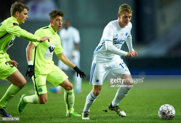 Kasper Kusk of FC Copenhagen controls the ball during the Danish Alka Superliga match between FC Copenhagen and Esbjerg fB at Telia Parken Stadium on...