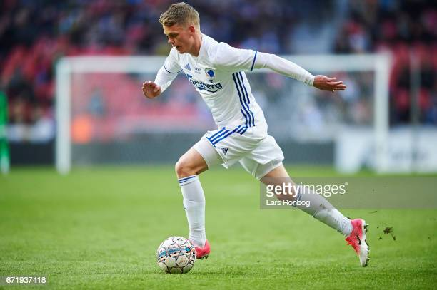 Kasper Kusk of FC Copenhagen controls the ball during the Danish Alka Superliga match between FC Copenhagen and FC Midtjylland at Telia Parken...