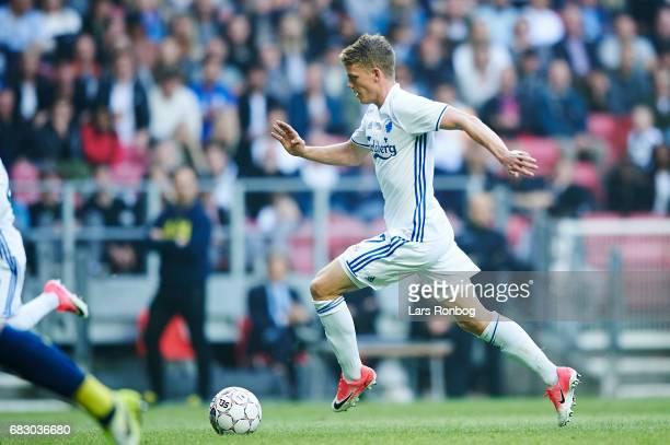 Kasper Kusk of FC Copenhagen controls the ball during the Danish Alka Superliga match between FC Copenhagen and Brondby IF at Telia Parken Stadium on...