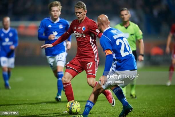 Kasper Kusk of FC Copenhagen controls the ball during the Danish Alka Superliga match between Lyngby BK and FC Copenhagen at Lyngby Stadion on...