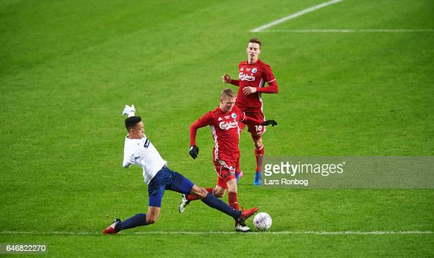 Kasper Kusk of FC Copenhagen controls the ball during the Danish Cup DBU Pokalen match match between B93 and FC Copenhagen at Telia Parken Stadium on...