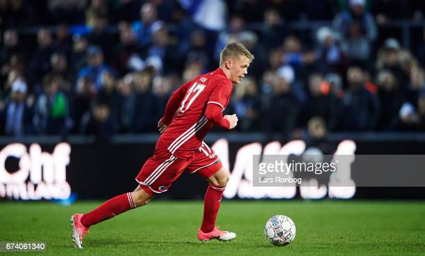 Kasper Kusk of FC Copenhagen controls the ball during the Danish cup DBU Pokalen semfinal match between Vendsyssel FF and FC Copenhagen at Bredband...