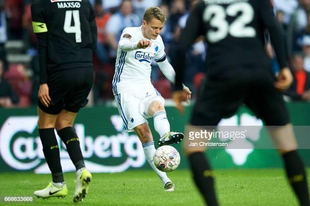 Kasper Kusk of FC Copenhagen in action during the Danish Alka Superliga match between FC Copenhagen and FC Nordsjalland at Telia Parken Stadium on...