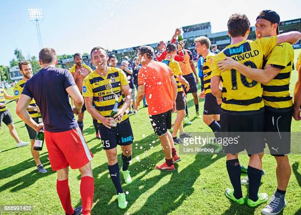 Kasper Povlsen of Hobro IK celebrate winning the match and the NordicBet LIGA with promotion to the Alka Superliga after the Danish NordicBet LIGA 1...