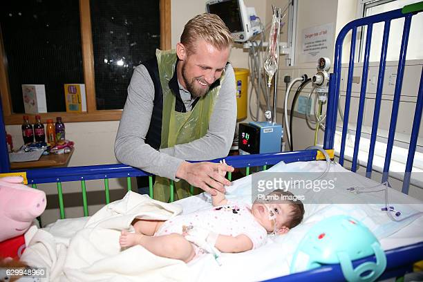 Kasper Schmeichel during the Leicester City Players Deliver Christmas Presents to Patients at Leicester Royal Infirmary on December 15 2016 in...