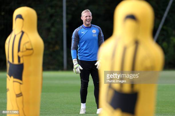 Kasper Schmeichel during the Leicester City training session at Belvoir Drive Training Complex on September 28 2017 in Leicester United Kingdom