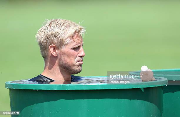 Kasper Schmeichel hits the ice bath during the Leicester City training session at their preseason training camp on July 14 2015 in Spielfeld Austria