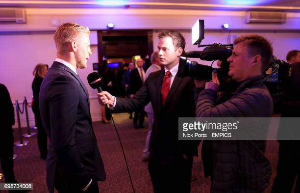 Kasper Schmeichel is interviewed during the Football League Awards 2015 at The Brewery in London