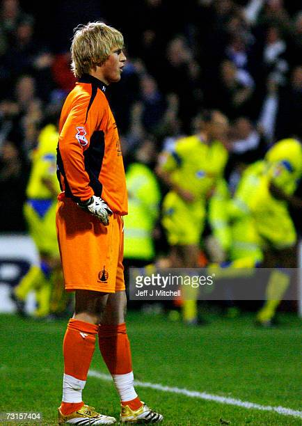 Kasper Schmeichel of Falkirk looks on after Kilmarnock had scored during the CIS Insurance Cup semi final at Fir Park on January 30 2007 in...