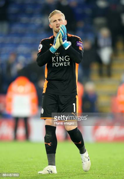 Kasper Schmeichel of Leicester City applauds the home fans after the Premier League match between Leicester City and Burnley at King Power Stadium on...
