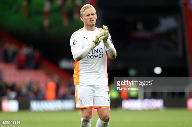 Kasper Schmeichel of Leicester City applauds the travelling fans after the Premier League match between Bournemouth and Leicester City at Vitality...