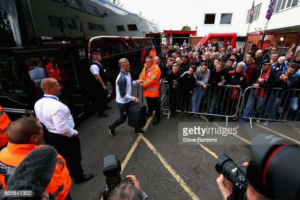 Kasper Schmeichel of Leicester City arrives at the stadium prior to the Premier League match between AFC Bournemouth and Leicester City at Vitality...