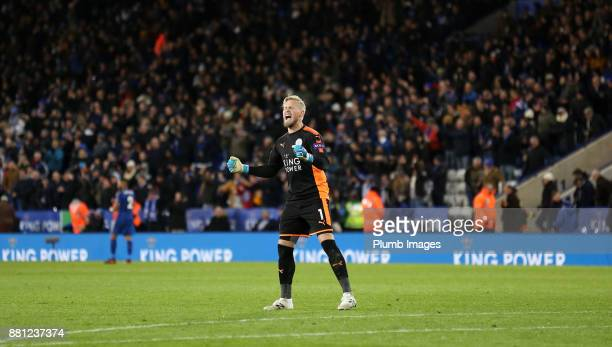 Kasper Schmeichel of Leicester City celebrates after Jamie Vardy of Leicester City scores to make it 10 during the Premier League match between...