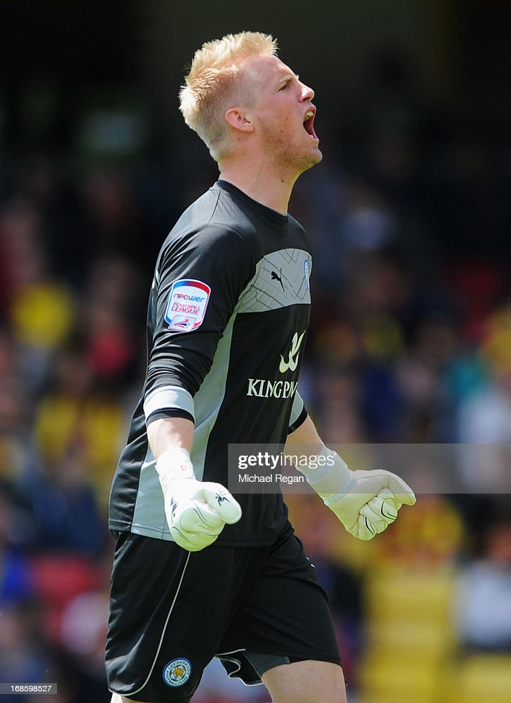Kasper Schmeichel of Leicester City celebrates as David Nugent of Leicester City (not pictured) scores their first goal during the npower Championship Play Off Semi Final Second Leg match between Watford and Leicester City at Vicarage Road on May 12, 2013 in Watford, England.