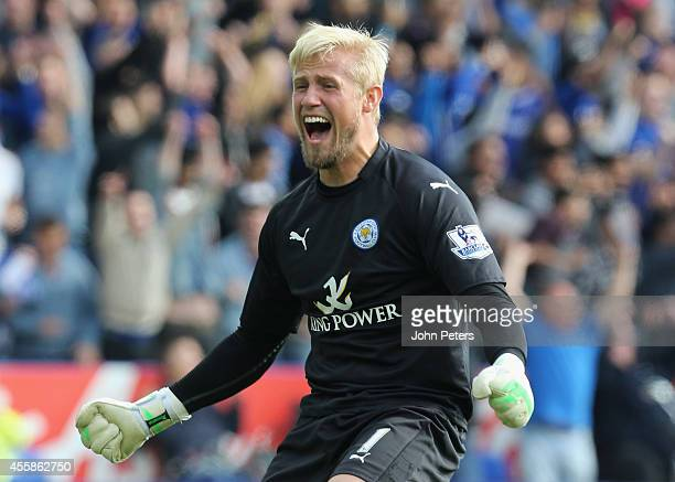 Kasper Schmeichel of Leicester City celebrates during the Barclays Premier League match between Leicester City and Manchester United at The King...