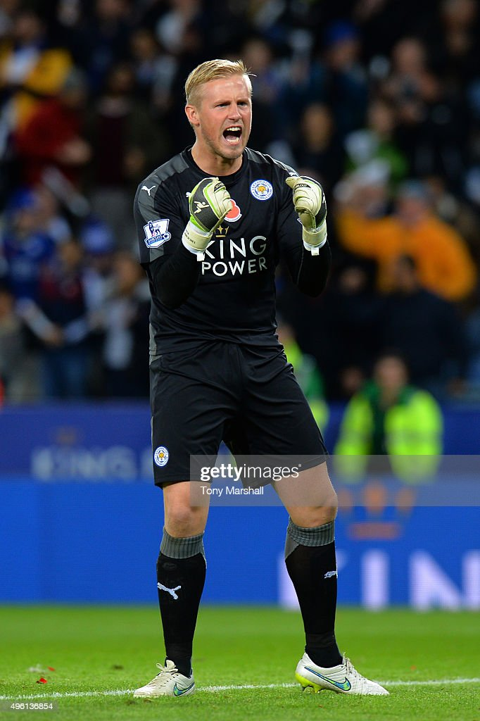 Kasper Schmeichel of Leicester City celebrates his team's 2-1 win in the Barclays Premier League match between Leicester City and Watford at The King Power Stadium on November 7, 2015 in Leicester, England.