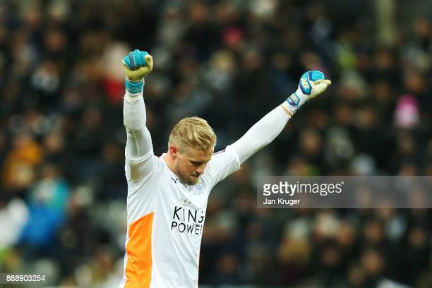 Kasper Schmeichel of Leicester City celebrates the first Leicester goal during the Premier League match between Newcastle United and Leicester City...