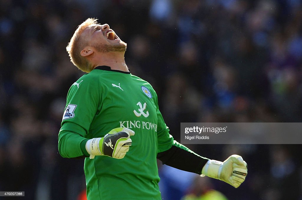 Kasper Schmeichel of Leicester City celebrates victory after the Barclays Premier League match between Leicester City and Swansea City at The King Power Stadium on April 18, 2015 in Leicester, England.