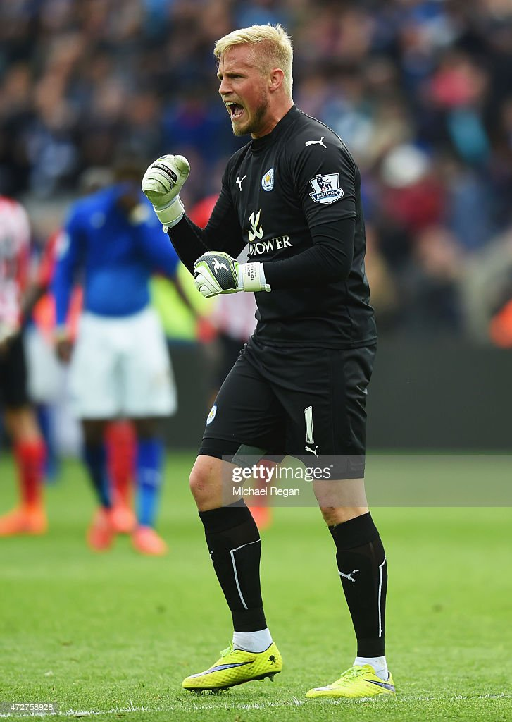 Kasper Schmeichel of Leicester City celebrates victory after the Barclays Premier League match between Leicester City and Southampton at The King Power Stadium on May 9, 2015 in Leicester, England.