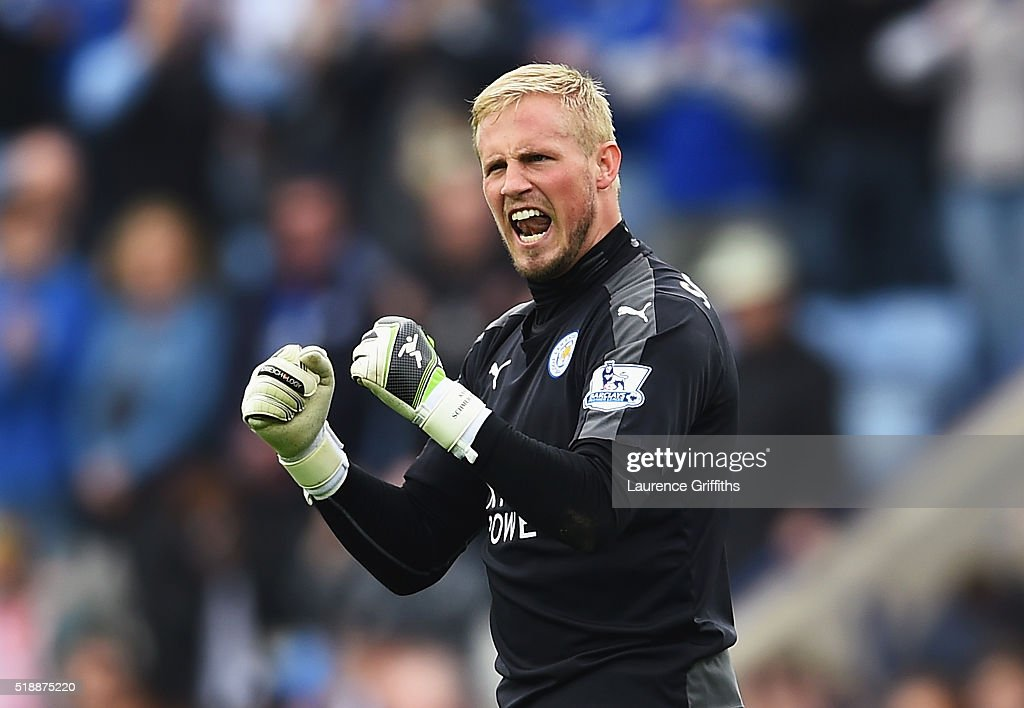 Kasper Schmeichel of Leicester City celebrates victory after the Barclays Premier League match between Leicester City and Southampton at The King Power Stadium on April 3, 2016 in Leicester, England.
