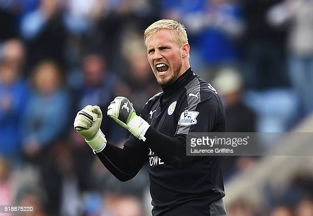 Kasper Schmeichel of Leicester City celebrates victory after the Barclays Premier League match between Leicester City and Southampton at The King...