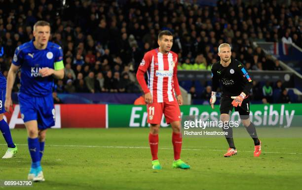 Kasper Schmeichel of Leicester City comes up for a corner kick during the UEFA Champions League Quarter Final second leg match between Leicester City...