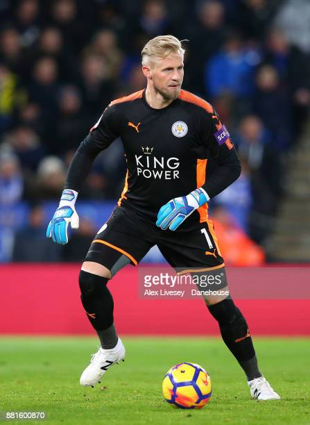 Kasper Schmeichel of Leicester City during the Premier League match between Leicester City and Tottenham Hotspur at The King Power Stadium on...