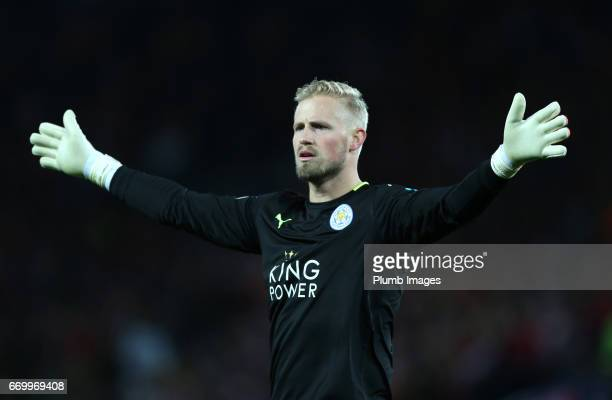 Kasper Schmeichel of Leicester City during the UEFA Champions League Quarter Final Second Leg match between Leicester City and Club Atletico de...