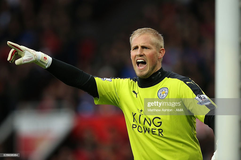 Kasper Schmeichel of Leicester City gestures during the Barclays Premier League match between Manchester United and Leicester City at Old Trafford on May 1, 2016 in Manchester, United Kingdom.