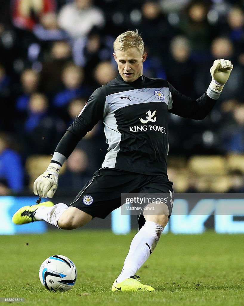 <a gi-track='captionPersonalityLinkClicked' href=/galleries/search?phrase=Kasper+Schmeichel&family=editorial&specificpeople=2309352 ng-click='$event.stopPropagation()'>Kasper Schmeichel</a> of Leicester City in action during the npower Championship match between Derby County and Leicester City at Pride Park Stadium on March 16, 2013 in Derby, England.