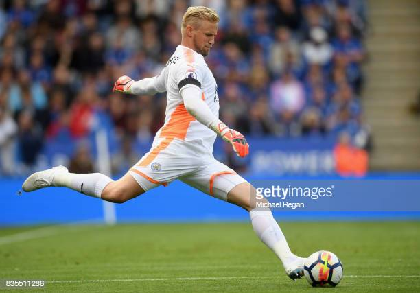 Kasper Schmeichel of Leicester City in action during the Premier League match between Leicester City and Brighton and Hove Albion at The King Power...