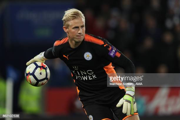 Kasper Schmeichel of Leicester City in action during the Premier League match between Leicester City and West Bromwich Albion at King Power Stadium...