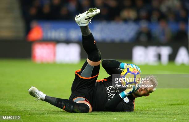 Kasper Schmeichel of Leicester City makes a save during the Premier League match between Leicester City and Tottenham Hotspur at The King Power...