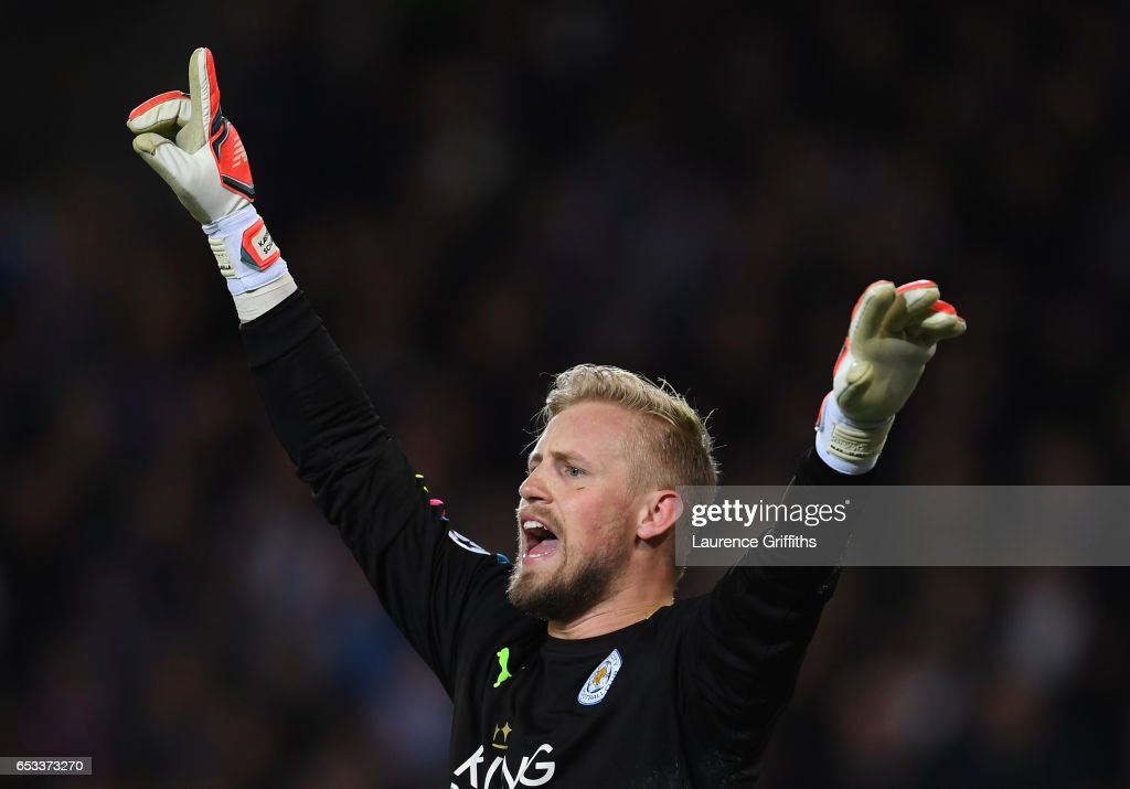 Kasper Schmeichel of Leicester City reacts during the UEFA Champions League Round of 16, second leg match between Leicester City and Sevilla FC at The King Power Stadium on March 14, 2017 in Leicester, United Kingdom.