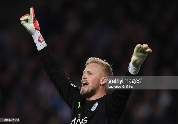 Kasper Schmeichel of Leicester City reacts during the UEFA Champions League Round of 16 second leg match between Leicester City and Sevilla FC at The...